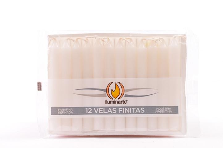 12 VELAS FINITAS PARAFINA CORTAS- BLANCO (PS)