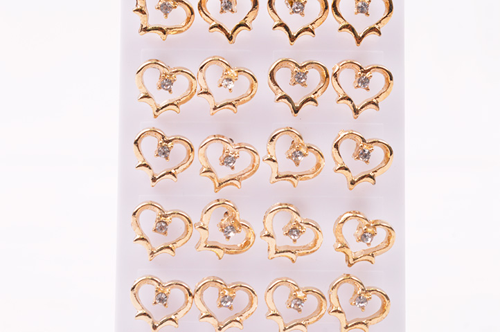 PACK 12 ARITOS PASANTES CORAZON 1 STRASS E07-035P4 (CS)