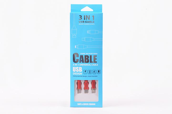 CABLE CARGADOR 3 en 1 USB DESIGN (HEY)
