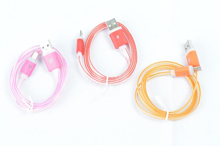 CABLE CARGADOR USB A MICRO USB TRANSPARENTE PLANO (CS)