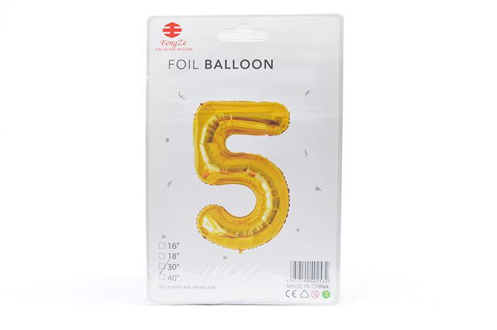 GLOBO FOIL BALLOON DORADO GRANDE Nro.5 (0615) (LU)