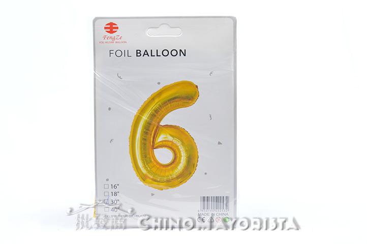 """GLOBO FOIL BALLOON DORADO 30"""" Nro. 6 (2532) (CS)"""