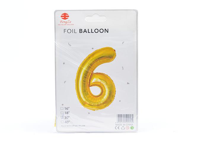 GLOBO FOIL BALLOON DORADO GRANDE Nro.6 (0615) (LU)