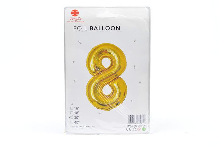 GLOBO FOIL BALLOON DORADO GRANDE Nro.8 (0615) (LU)