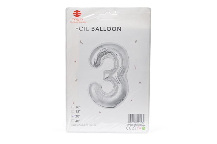 GLOBO FOIL BALLOON PLATEADO GRANDE Nro.3 (0615) (LU)
