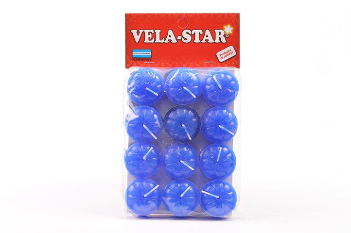 VELA DE NOCHE VELA-STAR x12unid. AZUL (PS)