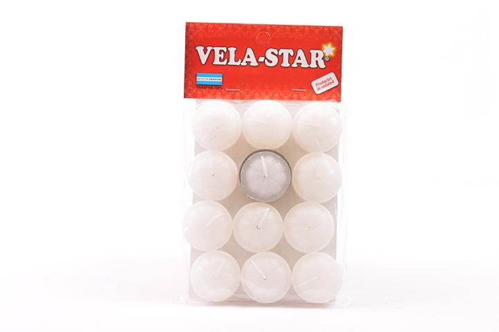 VELA DE NOCHE VELA-STAR x12unid. BLANCO (PS)
