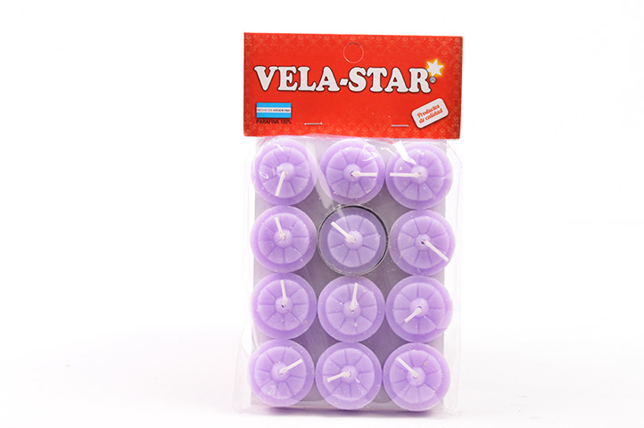 VELA DE NOCHE VELA-STAR x12unid. LILA (PS)