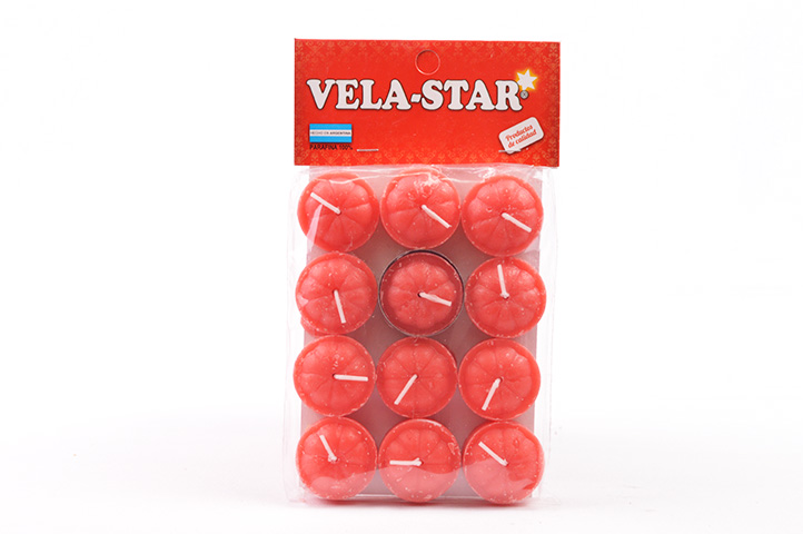 VELA DE NOCHE VELA-STAR x12unid. ROJO (PS)