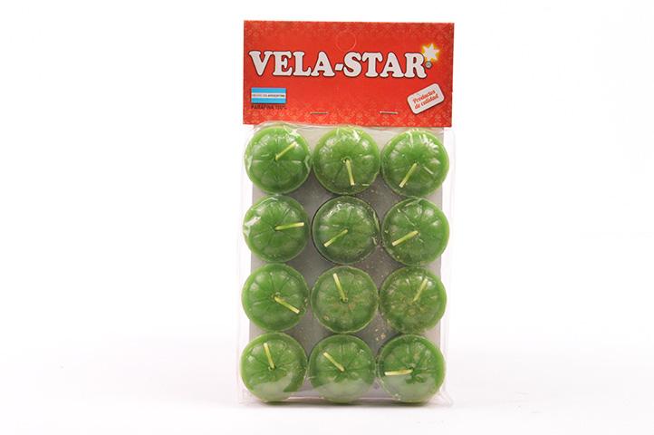 VELA DE NOCHE VELA-STAR x12unid. VERDE (PS)