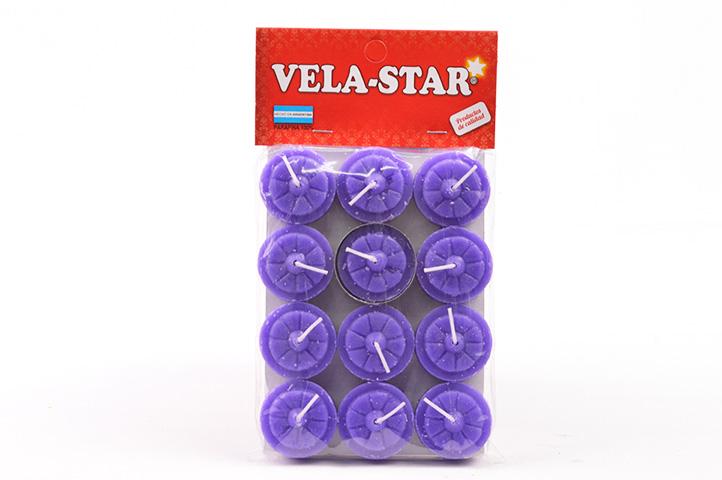 VELA DE NOCHE VELA-STAR x12unid. VIOLETA (PS)